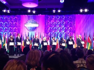 Chris Button with other contestants at the International Toastmasters Convention