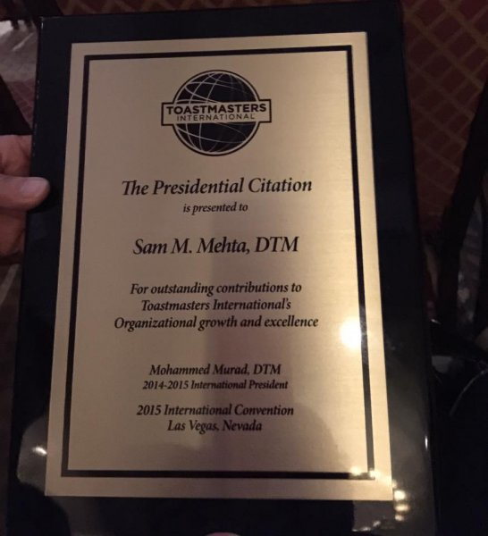 Presidential Citation presented to Sam Mehta DTM, PDG
